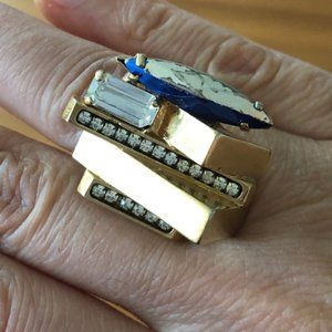 VTG Made in Italy Gold Crystal Ring